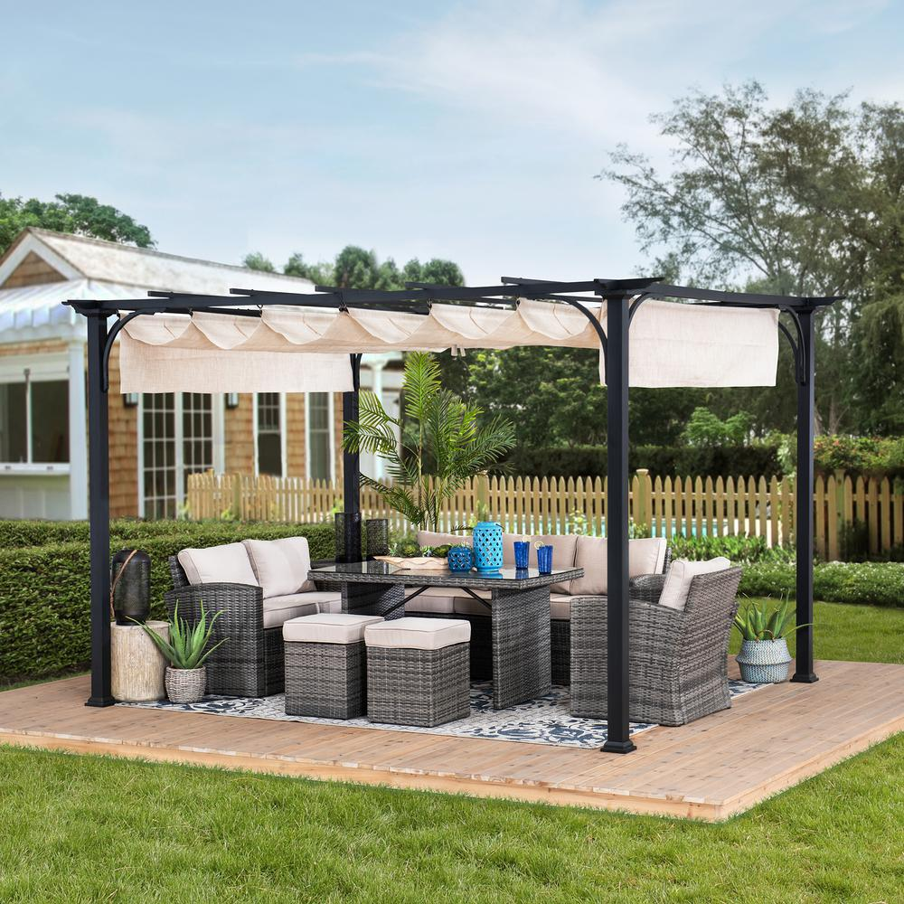Sunjoy Lydia 10 Ft X 8 Ft Black Steel Classic Pergola With Adjustable Beige Shade A106005600 The Home Depot In 2020 Steel Pergola Pergola Canopy Pergola