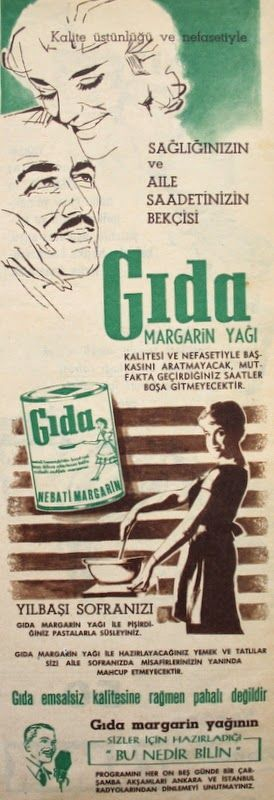 Oguz Topoglu Gida Margarin Yagi 1959 Nostaljik Eski Reklamlar Geziler Tarih Reklam
