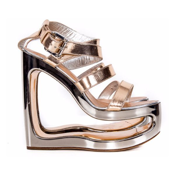 2c503ade5f0 Pre-Owned Rose gold silver Leather Strappy Sandals Size 38 ( 437) · Silver Wedge  ShoesSilver ...