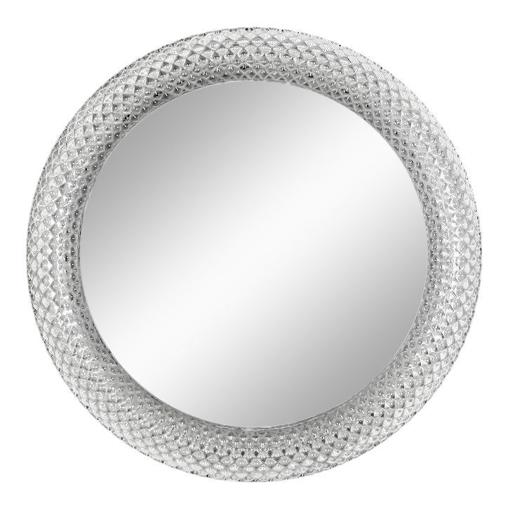 Mid-Century Round Clear Glass Frame Mirror Light | Mirror ...