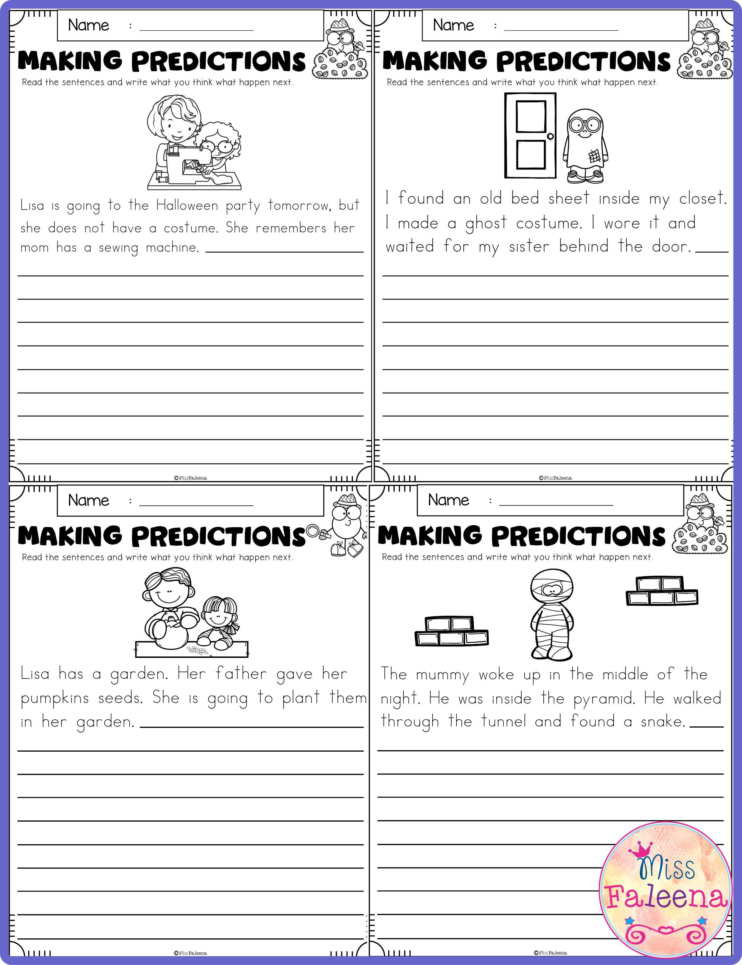 October Making Predictions Contains With Total 30 Pages Of Making Prediction Worksheets This P Making Predictions 2nd Grade Worksheets Kindergarten Worksheets
