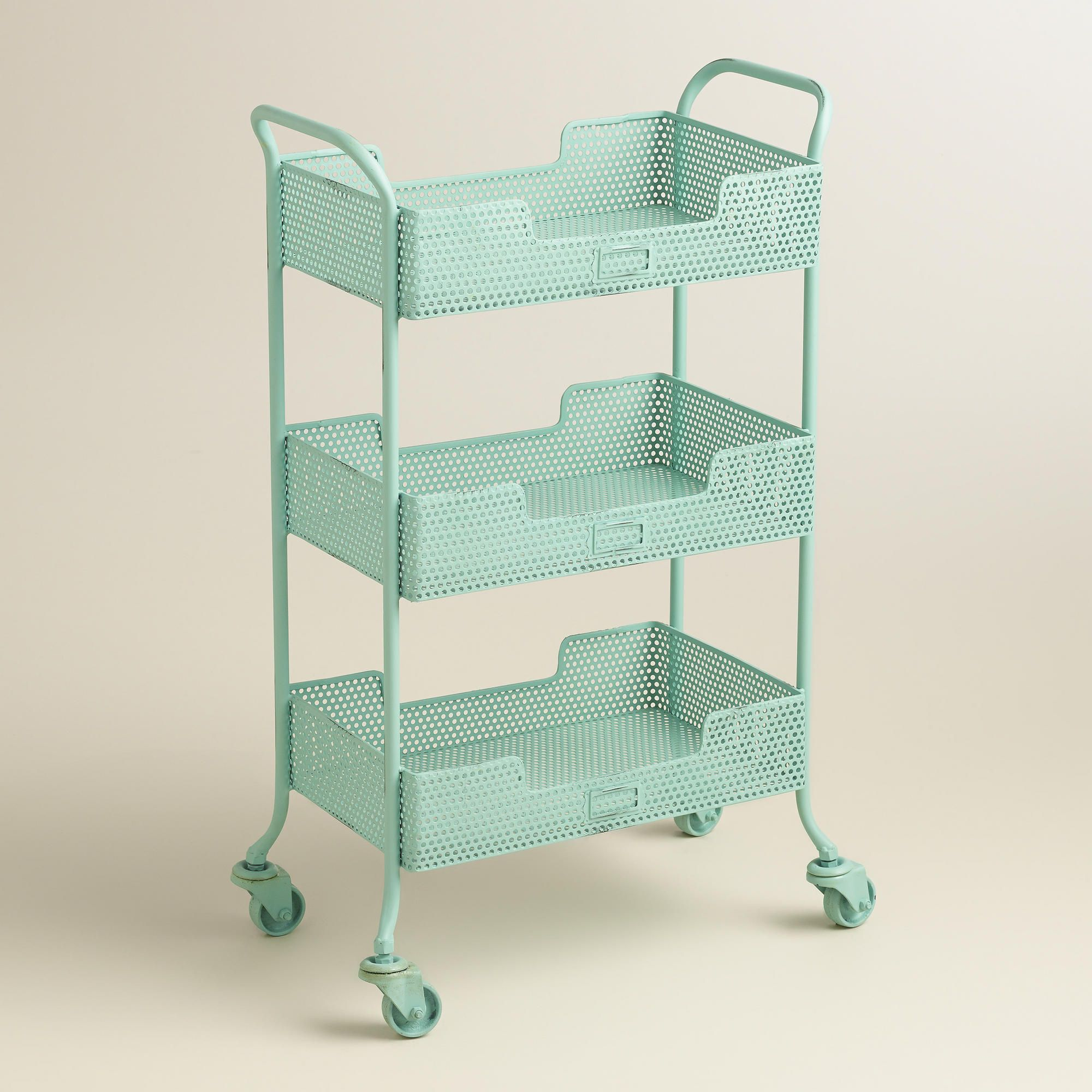 Blue punched metal yvette rolling cart rolling cart
