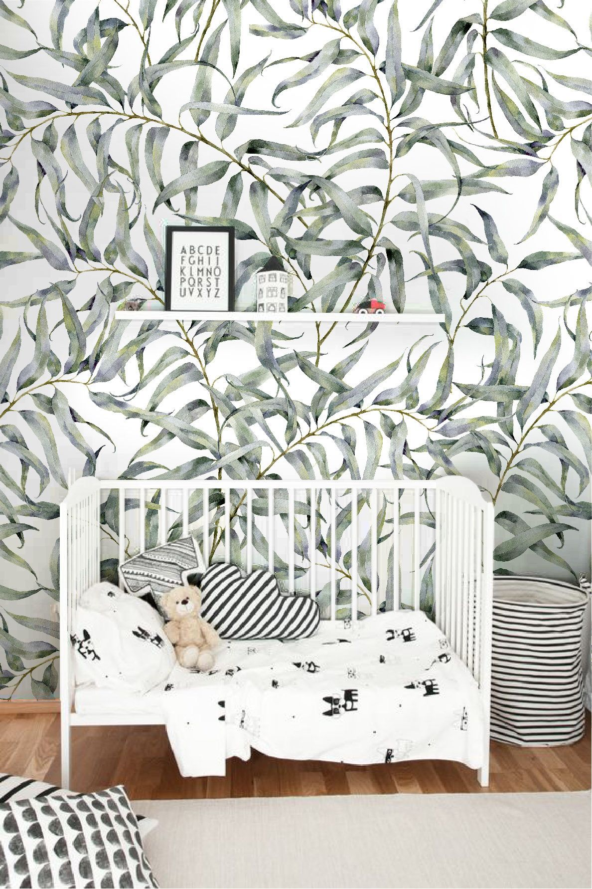 Eucalyptus leaf removable wallpaper jungle temporary wallpaper renters friendly wallpaper peel and stick
