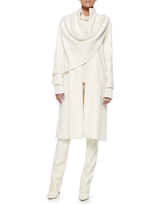 Ralph Lauren Collection Marielle Drape-Panel Coat, Long-Sleeve Turtleneck & Bradford Slim Wool Pants