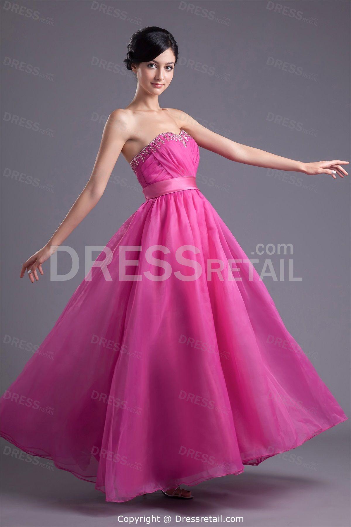 Fantastic Fuchsia Organza A-Line Sleeveless Ankle-Length Prom Dress ...