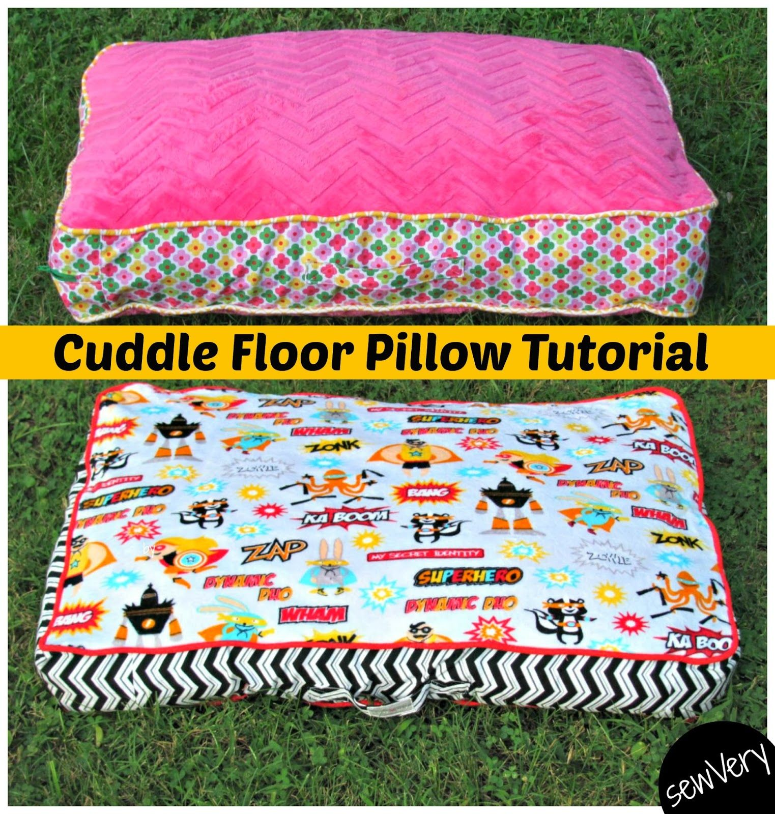 Cuddle Floor Pillow Tutorial and Matching Blankets (sewVery) | Floor ...