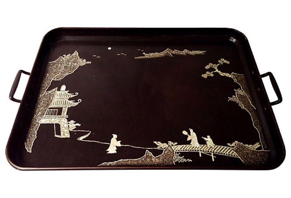 Huge chinoiserie tray! Mother Of Pearl Inlaid Tray on Chairish.com
