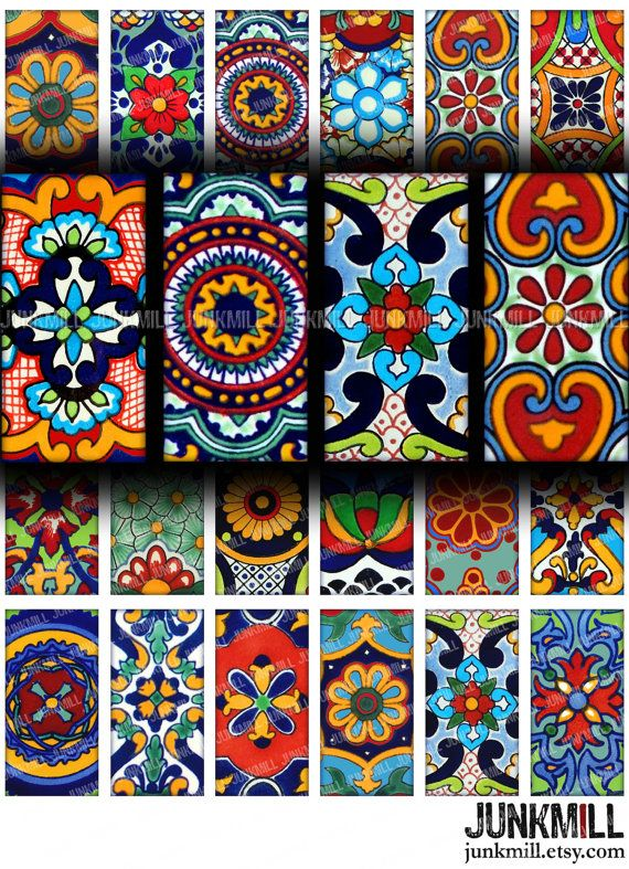 Talavera Digital Printable Collage Sheet Colorful Mexican Folk Art Designs In 1 X 2 Domino Tile Size By Junkmill 3 95