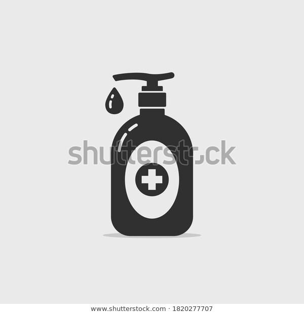 Black Hand Sanitizer Bottle Vector Icon Stock Vector Royalty Free 1820277707 Black Hand Vector Icons Hand Sanitizer