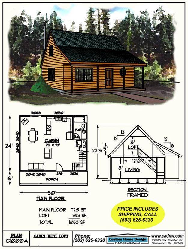 drawing C1000A 30' by 24', 8' Loft | Cabin plans, Cabin plans with ...
