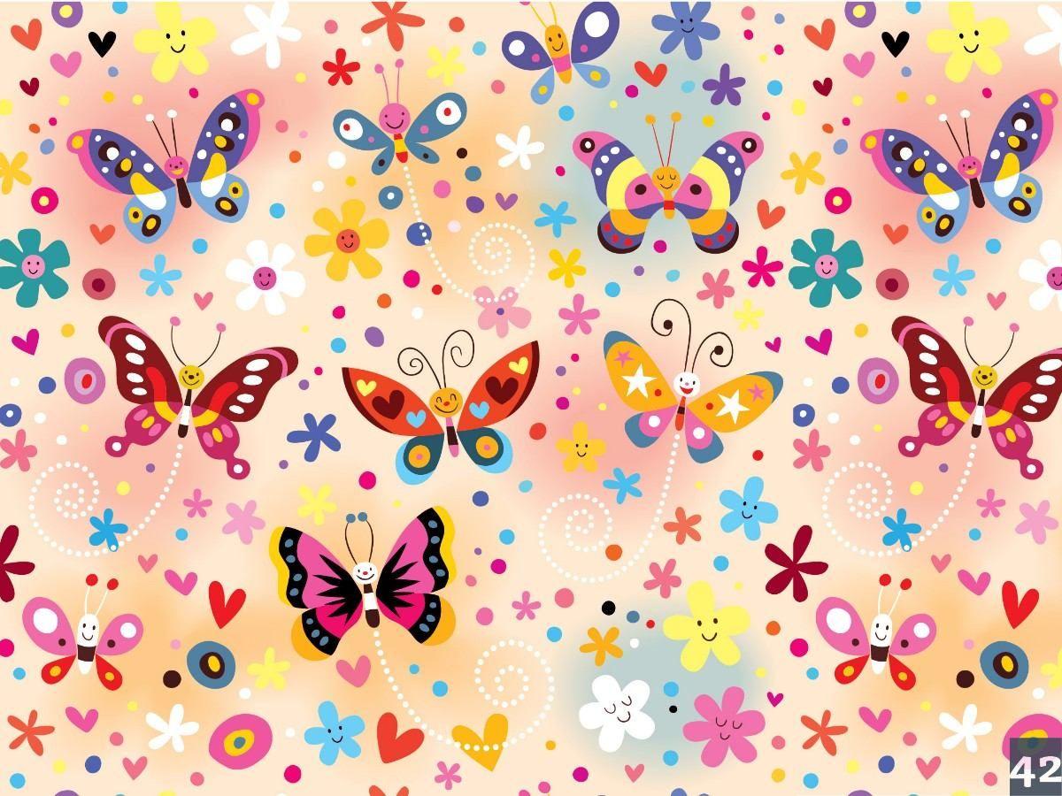 Empapelados flores corazones y mariposas con inst - Hojas decoradas para ninas ...