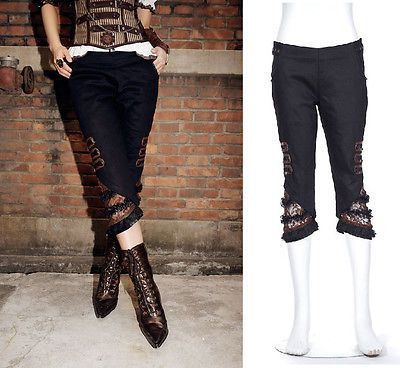 details zu rq bl steampunk 3 4 hose larp trousers rave punk brown pirate pants gothic sp004. Black Bedroom Furniture Sets. Home Design Ideas