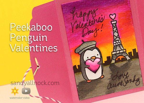 Sandy Allnock Peekaboo Penguin Valentine