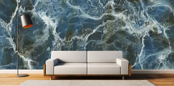 Blue Marble Wallpaper Marble Removable Wallpaper Marble Blue Marble Wallpaper Stone Wallpaper Decor