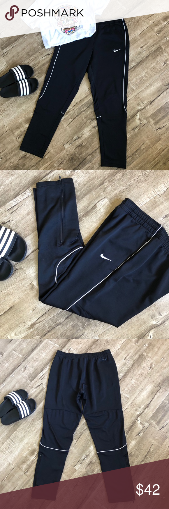 892901f64bc1 Women s Nike Large Black soccer warm up pants Lg Perfect for before or  after a soccer game or coaching. Wide elastic drawstring waist