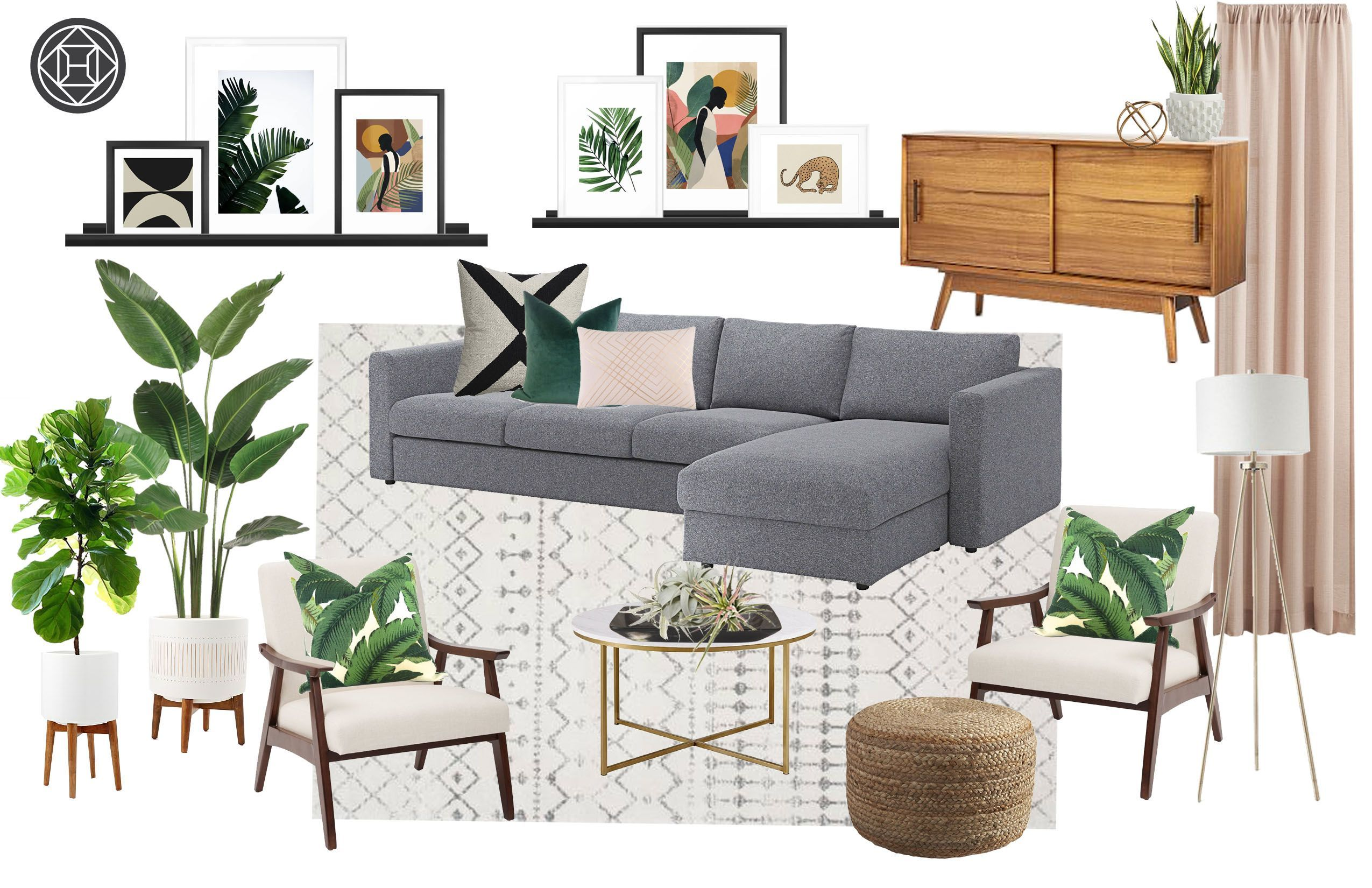 Bohemian, Glam, Midcentury Modern Living Room Design by Havenly Interior Designer Lindsay #havenlylivingroom Check out my living room design by Havenly! #havenlylivingroom