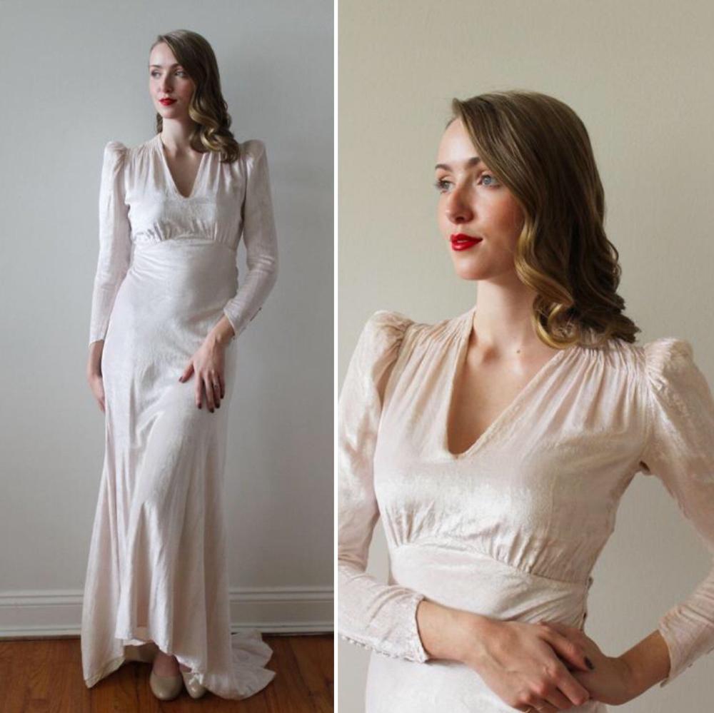 Hold Kia Vintage 1930 S Blush Pink Crushed Velvet Etsy Velvet Wedding Dress Etsy Wedding Dress Dresses [ 999 x 1000 Pixel ]