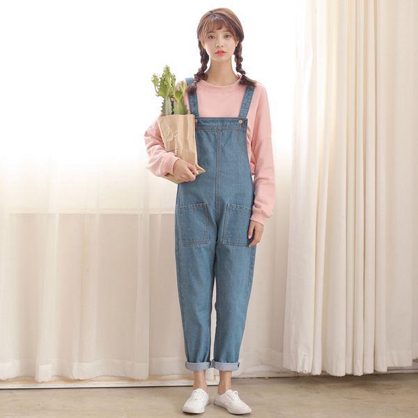 2989e08c792d ulzzang Hitz Korean Institute of wind leisure loose large denim overalls  pocket tooling piece pants