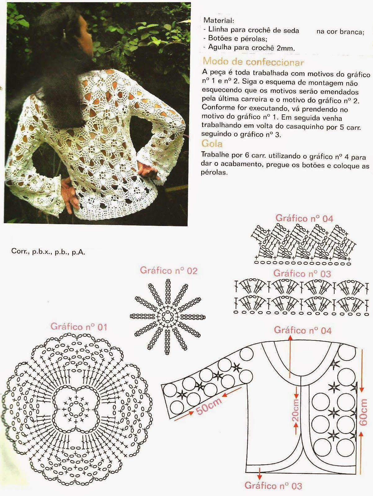 Chaqueta bolero calada con dibujos crochet - Patrones Crochet ...