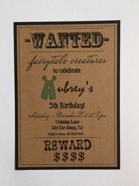 Shrek Birthday Shrek Invitation Shrek Invite Shrek Party Shrek Party