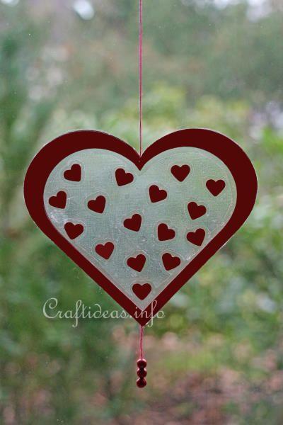 Valentine's Day Craft - Transparent Heart Window Decoration