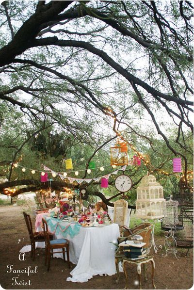 {Inspiration} {Decor} Start Collecting Different Chairs for the Table. Whimsical Mad Hatter Tea Party