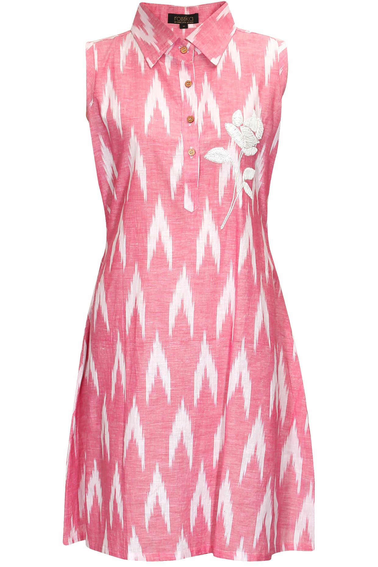 Pink flower embroidered shirt dress by Rouka. Shop now: http://www ...