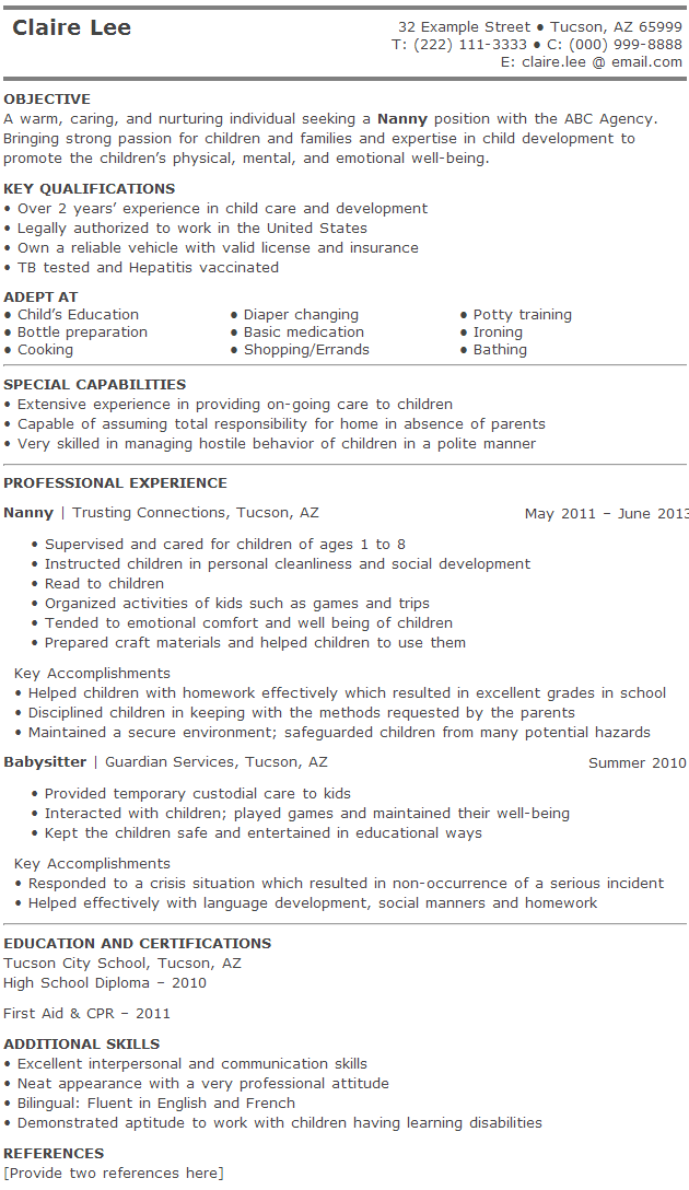 Babysitter On Resume Exle Nanny Resume 28 Images Objective For Nanny Resume 28 Images .