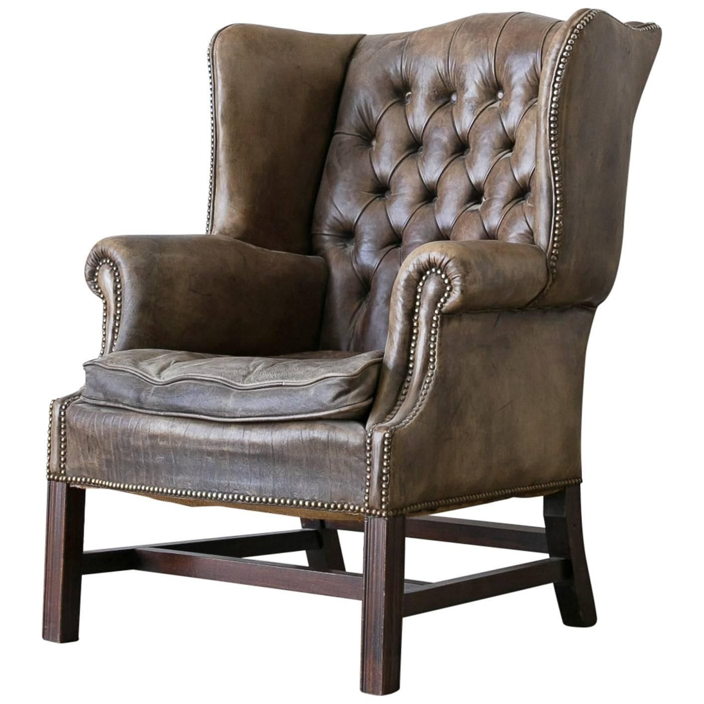 Antique wingback chairs - Vintage Chesterfield Style Leather Wingback Chair