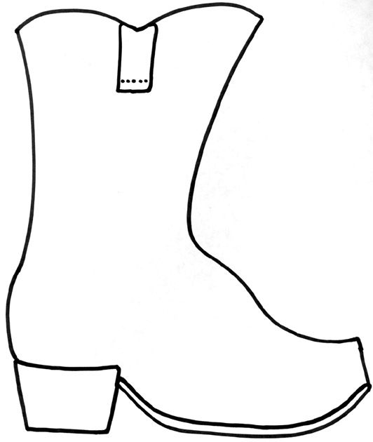 Cowboy boot craft. Copy onto brown construction paper or