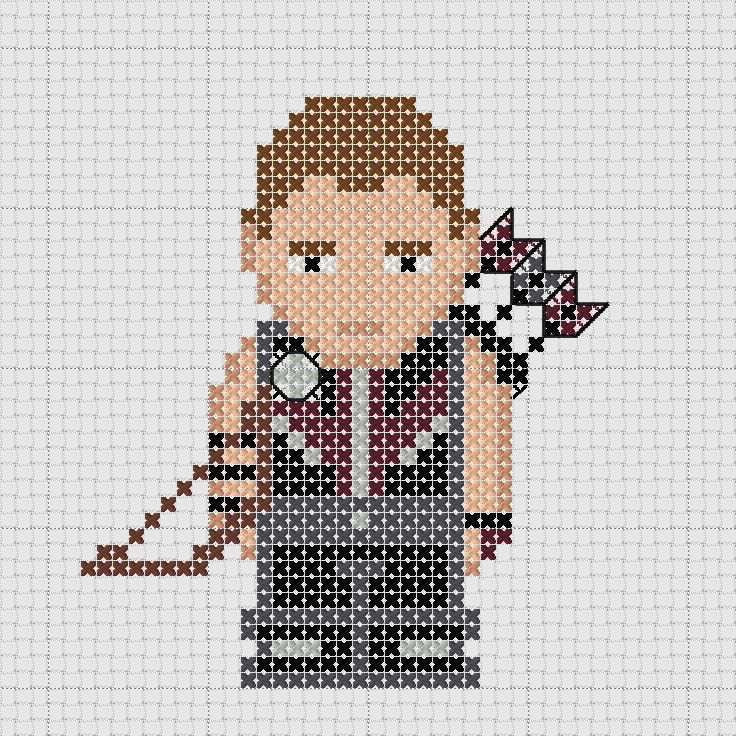 Cross stitch Marvel Avengers Hawkeye with bow and arrows.