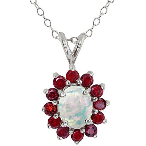2.13 Ct Oval White Simulated Opal and Rhodolite Garnet 925 Silver Pendant. This item is proudly custom made in the USA. 100% Satisfaction Guaranteed. Gemstones may have been treated to improve their appearance or durability and may require special care.