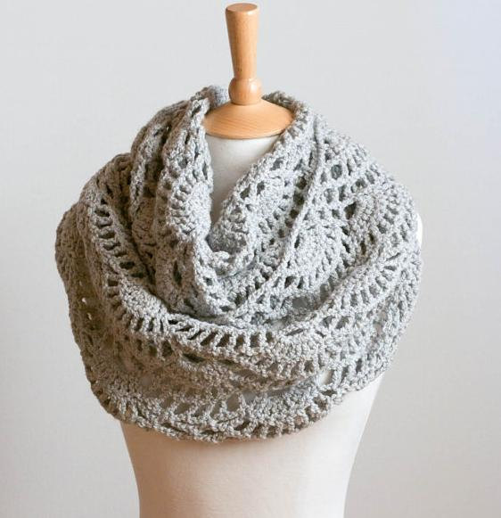 Crochet Pattern Instant Download Lacy Grey Cowl Gray Intricate