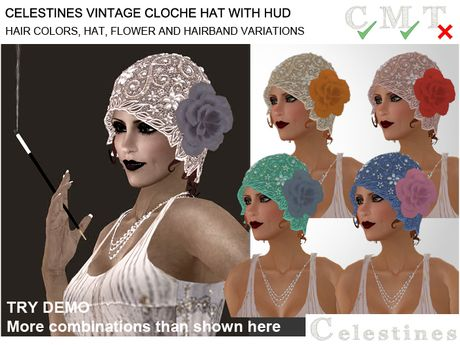 Celestines Vintage Cloche Hat - rigged mesh with materials