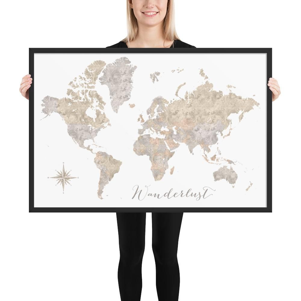 Neutral Watercolor Framed Map No Labels Wanderlust Products