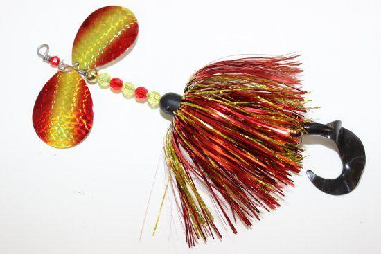 "Type Flashabou bucktail Weight 2 oz Length 8 inches Blades #8 Custom ""Foil"" Colorado's Hook 3/0 Mustad treble Trailer 4'' Grub"
