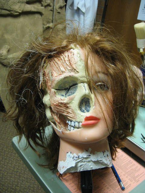 Diy hair doll spliced with foam skull