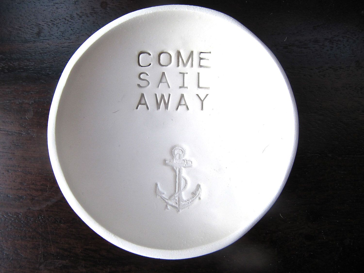 Jewelry Bowl Or Catchall With Anchor Imprint And Quote Made Of Polymer Clay   Necklace Holder