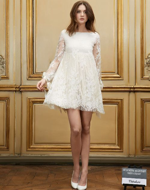 Short baby doll wedding gown with long sleeves by Delphine Manivet ...