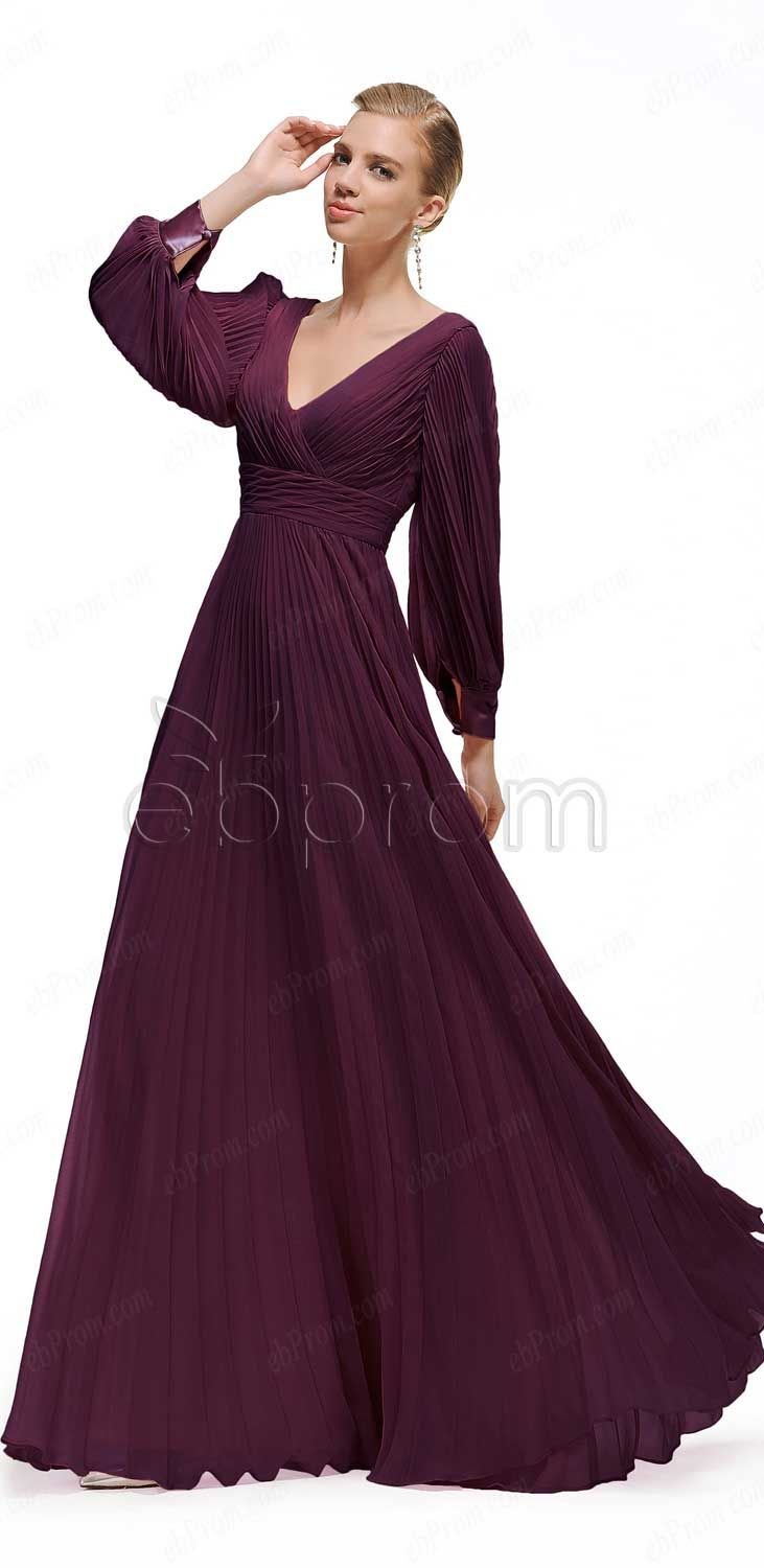 4a006f943f9 Modest Eggplant Mother of the Bride Dresses with Long Sleeves Mother of the Groom  Dresses