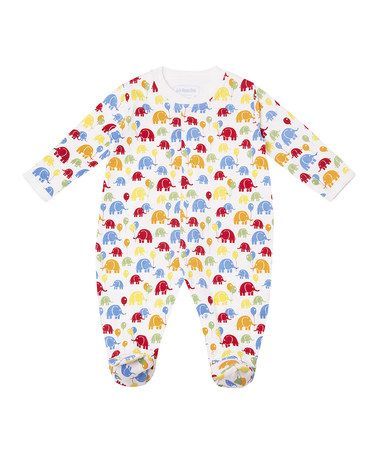 White Bright Elephant Footie - Infant #zulily #zulilyfinds