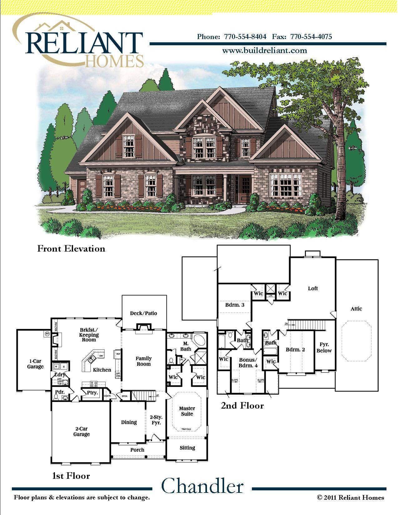 Reliant homes the chandler plan floor plans homes for Reliant homes floor plans