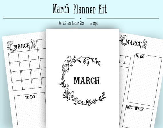Calendar Cover Page Template : Bullet journal layout for monthly planning this