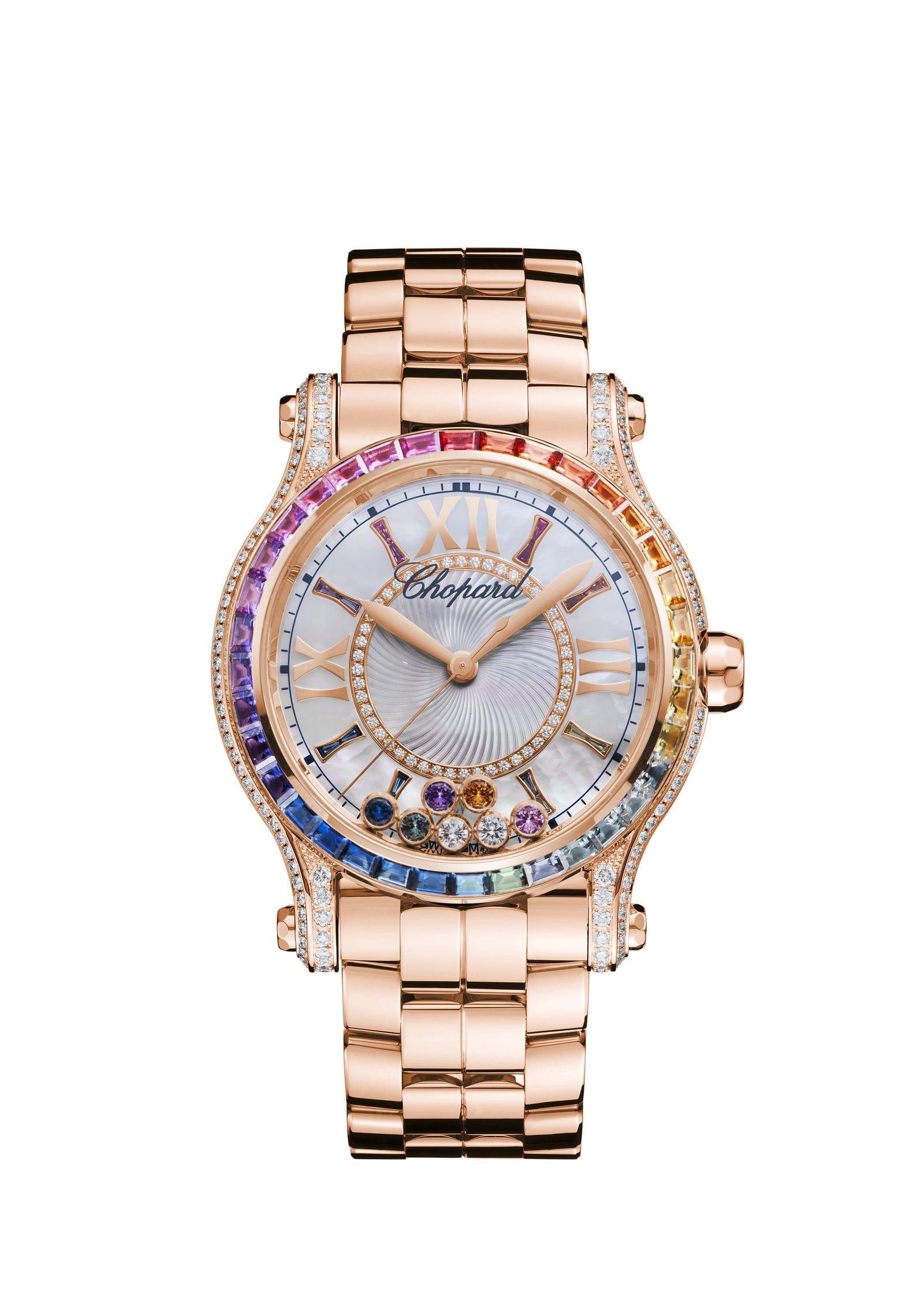 387bc8b6170 Happy Sport 36 MM Automatic Watch so beautiful   fun. Chopard the classier  Rolex. Rainbow saphires ❤️