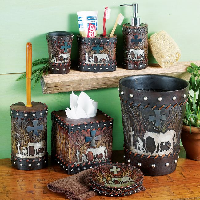 shop for western bathroom accessories cowboy bathroom and horse shower curtains at lone star western decor your online source for western decor - Western Bathroom Accessories Rustic