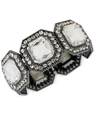 Haskell Hematite-Tone Square Crystal Stretch Bracelet