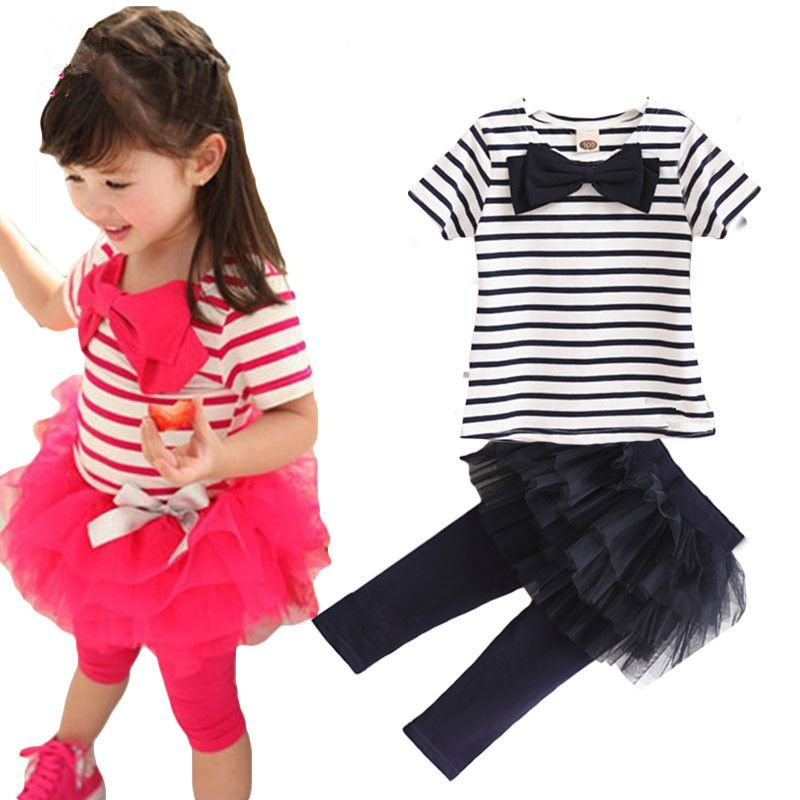 b3a61675fd68 2pcs Outfit Baby Kid Girl Stripe Bow Tops Tee Shirt+Tulle Tutu Skirt ...