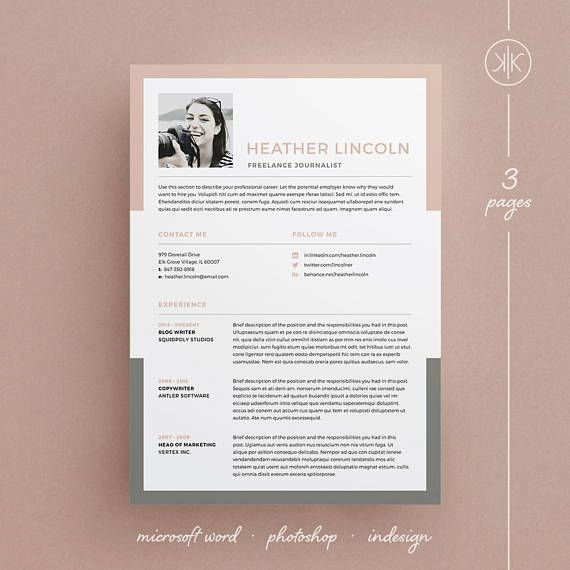 Heather Resume\/CV Template Word Photoshop InDesign - adobe indesign resume template
