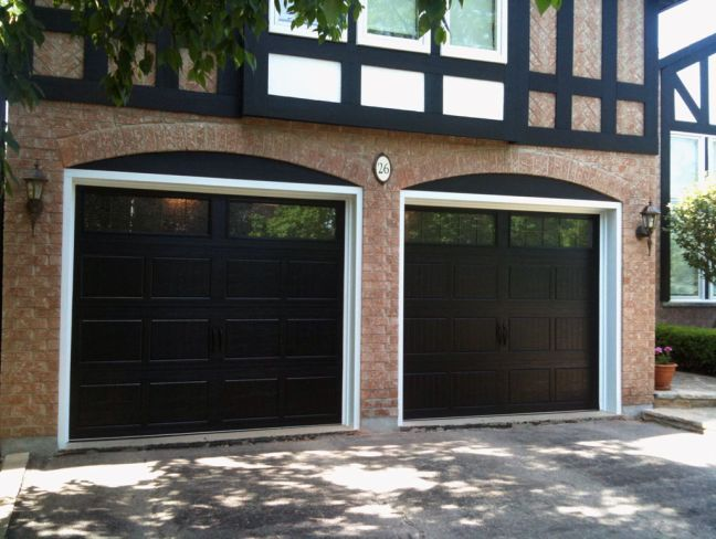 Black Garage Door Red Brick Black Garage Doors Red Brick House House Exterior