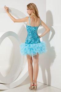 Mini-length Aqua Blue Sequined Cocktail Dresses with Straps